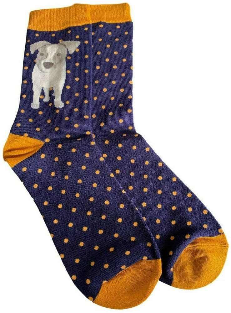 Mens Jack Russell Socks Navy Blue Yellow Novelty Fun Bamboo Cotton Size 8 - 12